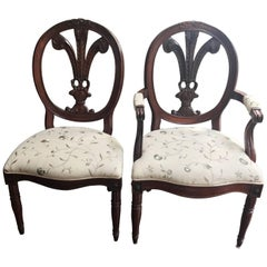 Maison Jansen Style Set of Seven Hand-Carved Feather Back Louis XVI Chairs