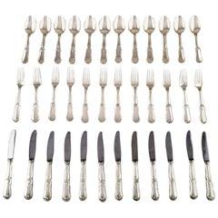 Complete Danish Silver Dinner Service for 12 People, Johannes Siggaard