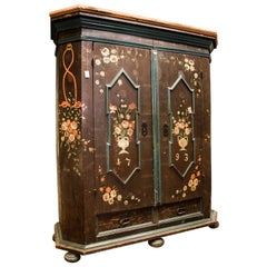 18th Century Austrian painted  Wardrobe , blue and red , is from Tirol