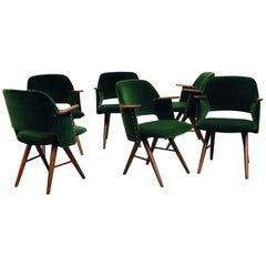 Set of Six Cees Braakman for Pastoe Emerald Velvet FT30 Armchairs