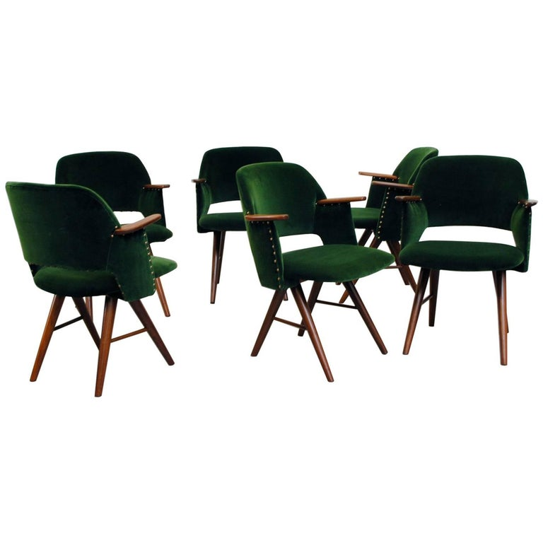 Set of Six Cees Braakman for Pastoe Emerald Velvet FT30 Armchairs 1
