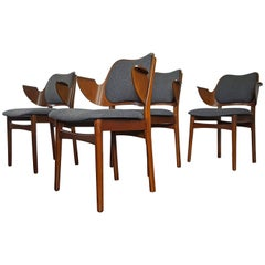 Set of Four Hans Olsen Shell Dining Chairs for Bramin Mobler, Denmark, 1950s