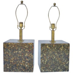 Pair of Modern Lamps with Pebbles in Epoxy Brass Haskell Antiques