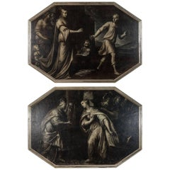 Rare, 18th Century, Grisaille Diptych