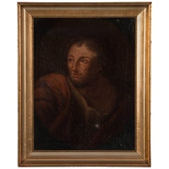 Antique 19th Century Italian School Oil on Canvas Portrait of a Robed Man