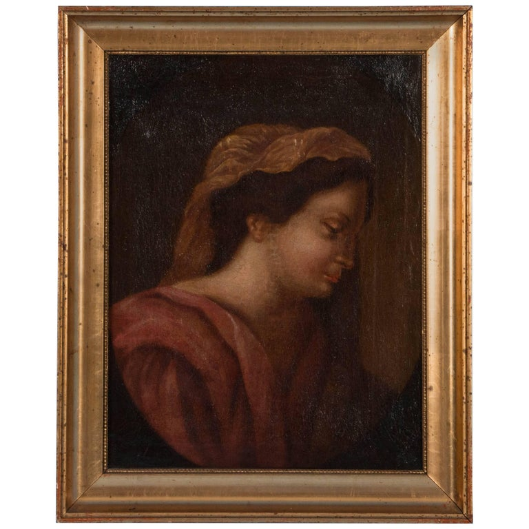 Antique 19th Century Italian School Oil on Canvas Portrait of a Robed Woman For Sale