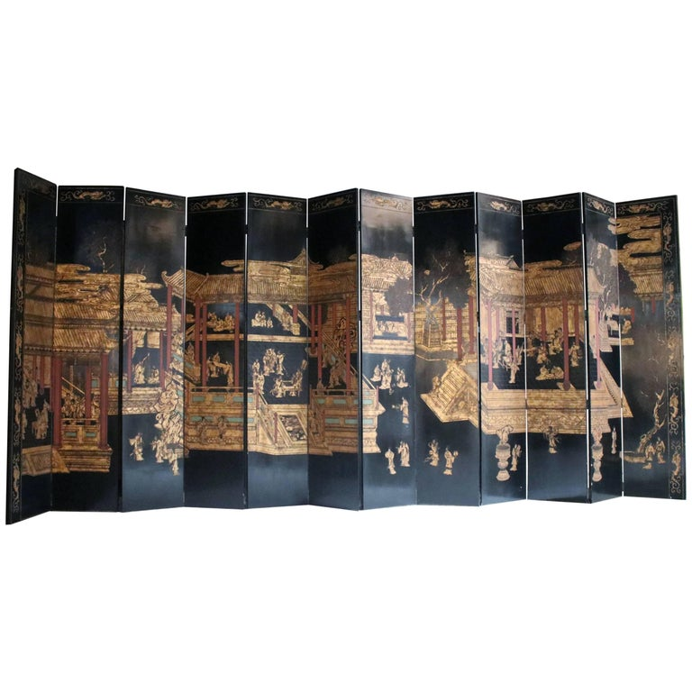 12-Panel Coromandel Double Sided Chinese Screen For Sale