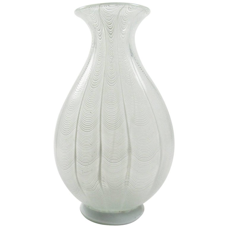 Massive Murano White Filigree Handblown Glass Vase