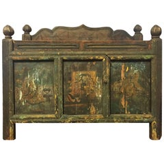 Original Antique Tibetan Chest, Hand-Painted