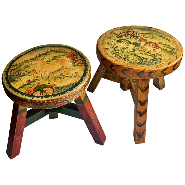 Pair of Tibetan Stools, Hand-Painted For Sale