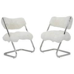 Pair of Mid-Century Modern Chrome Mongolian Lamb Chairs