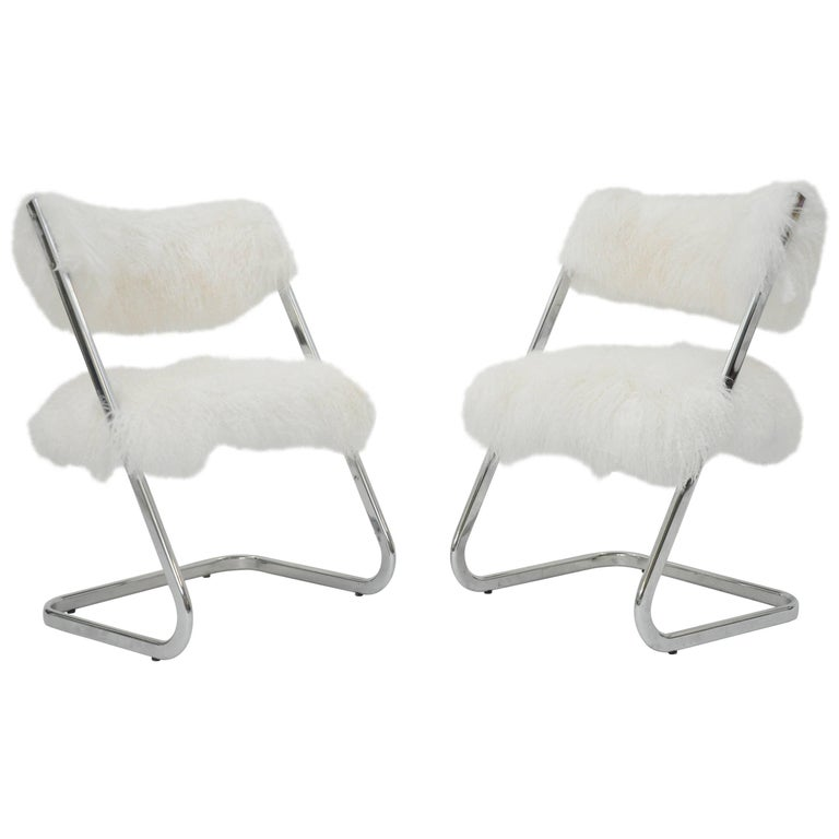 Pair Of Mid Century Modern Chrome Mongolian Lamb Chairs