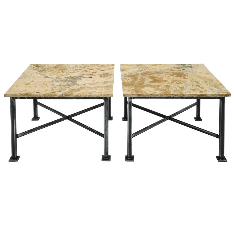 Pair of Custom Marble-Topped Tables