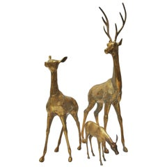 Large Brass Deer Family of Three