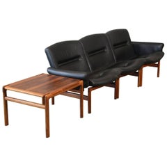 Modular Rosewood and Black Leather Sofa Set