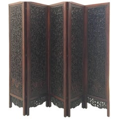 Asian Hand-Carved Wood Five Panels Double-Sided Folding Screen Room Divider