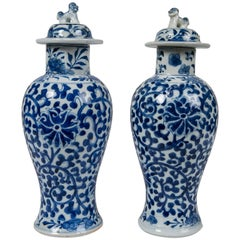 Blue and White Chinese Porcelain Vases, Pair