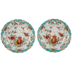 First Period Worcester Porcelain Dishes a Pair in the Jabberwocky Pattern