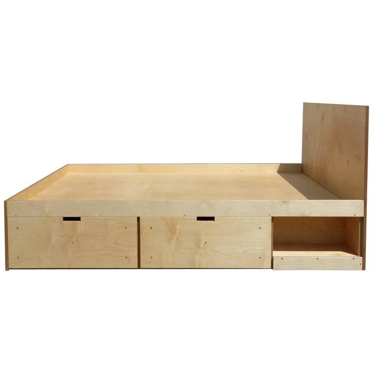 Waka Waka Contemporary Plywood Box Bed with Storage For Sale