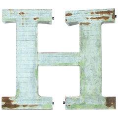 Large Industrial Metal Letter H, Czechoslovakia, circa 1960