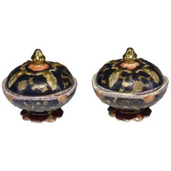Pair of Antique Japanese Meiji Period Porcelain Trinket or Jewelry Boxes