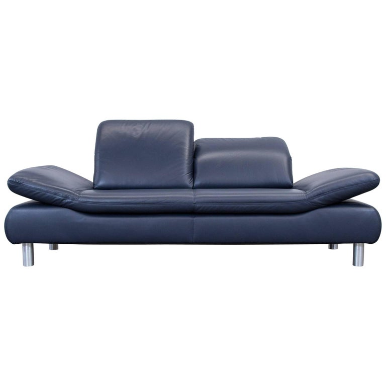 Koinor Rossini Designer Sofa Leather Blue Three-Seat Function ...