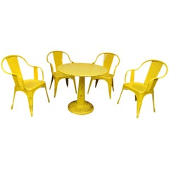 Set of Four Chairs and Round Iron Table by Tolix, circa 1950