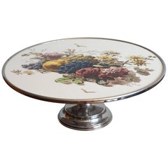 Early 20th Century Fruit & Flowers Porcelain Tile Pie Stand on Chrome Metal Base