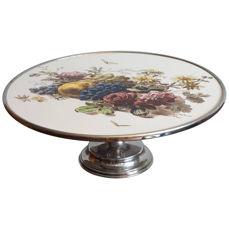 Early 20th Century Fruit & Flowers Porcelain Tile Pie Stand on Chrome Metal Base For Sale