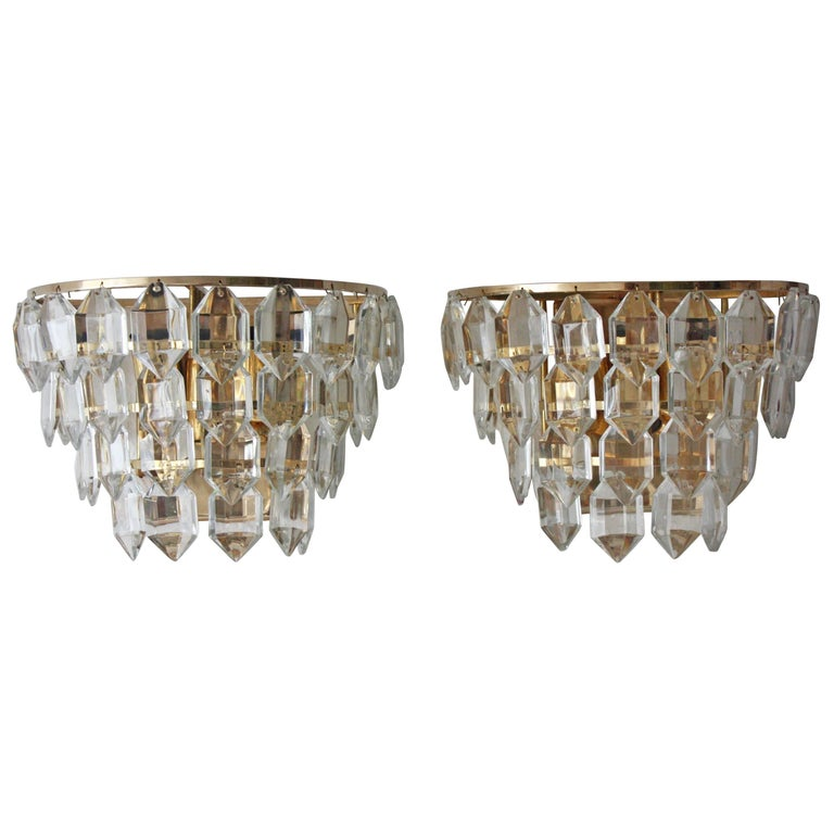 Pair of Mid-Century Crystal Wall Sconces by Bakalowits, Austria, circa 1960s