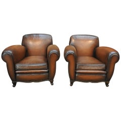 Pair of French  Large Leather Club Chairs, circa 1950