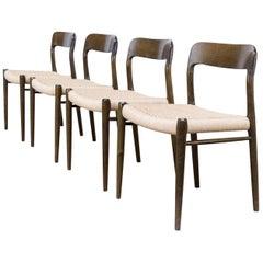 1960s Niels O. Møller Model 75 Dining Chairs for J.L. Møller, Set of Four