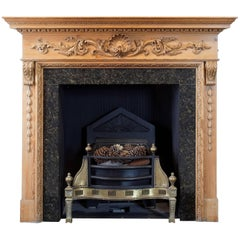 20th Century Georgian Style Carved Antique Pine Fire Surround