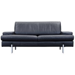 Rolf Benz Bmp Designer Sofa Leather Black Two-Seat Couch Modern