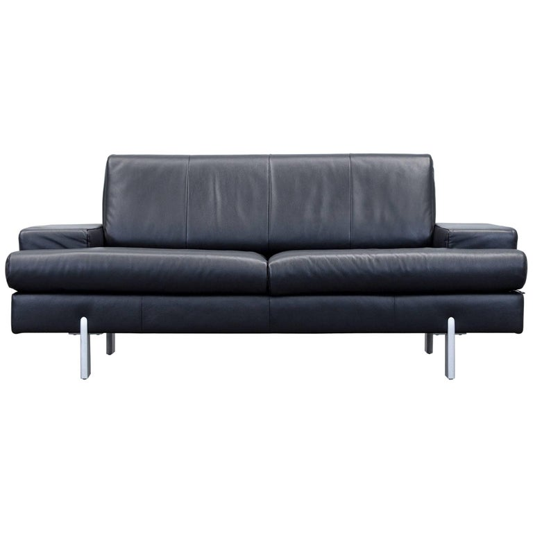rolf benz bmp designer sofa leather black two seat couch modern 1