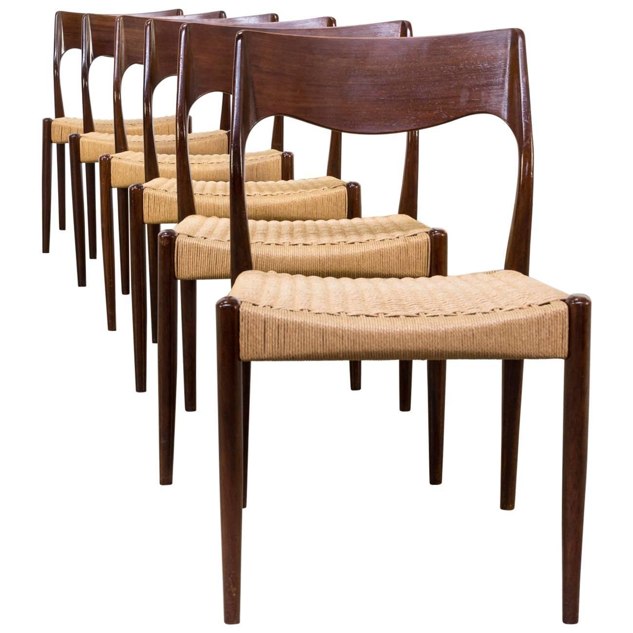 1960s Niels Otto Møller Model 71 Dinner Chairs For J.L. Møller, Set Of Six  For