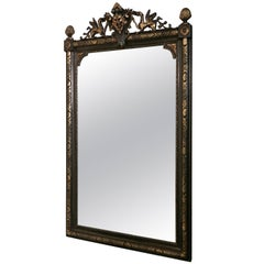 Large French Ebonized and Gilt Mirror, Lyons Mask and Dragon Crest