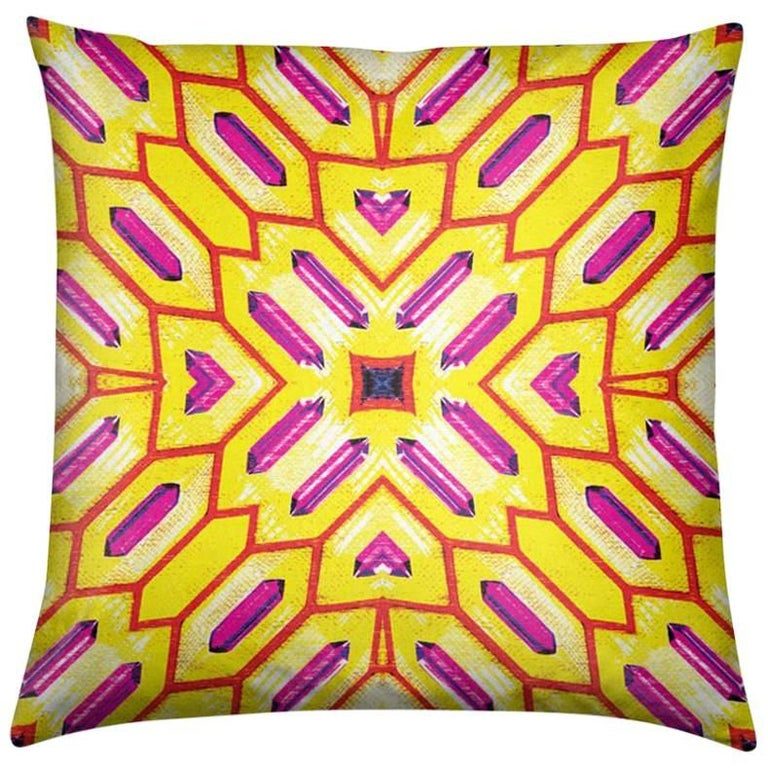 Palmares Print Lemon Deco Pillow by Lolita Lorenzo Home Collection, 2017 For Sale