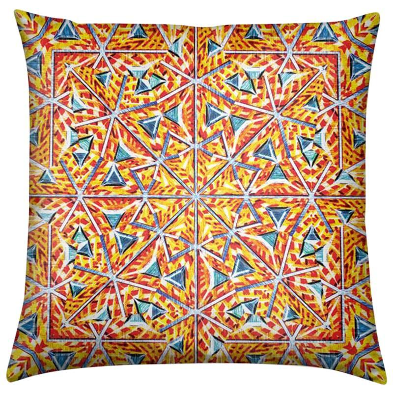 Bahia Print Yellow Palms Pillow by Lolita Lorenzo Home Collection, 2017