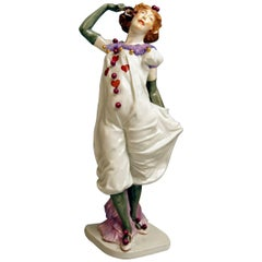 Meissen Pierrette Model Y 165 Wiegand Martin Tall Figurine Made, 1909-1915