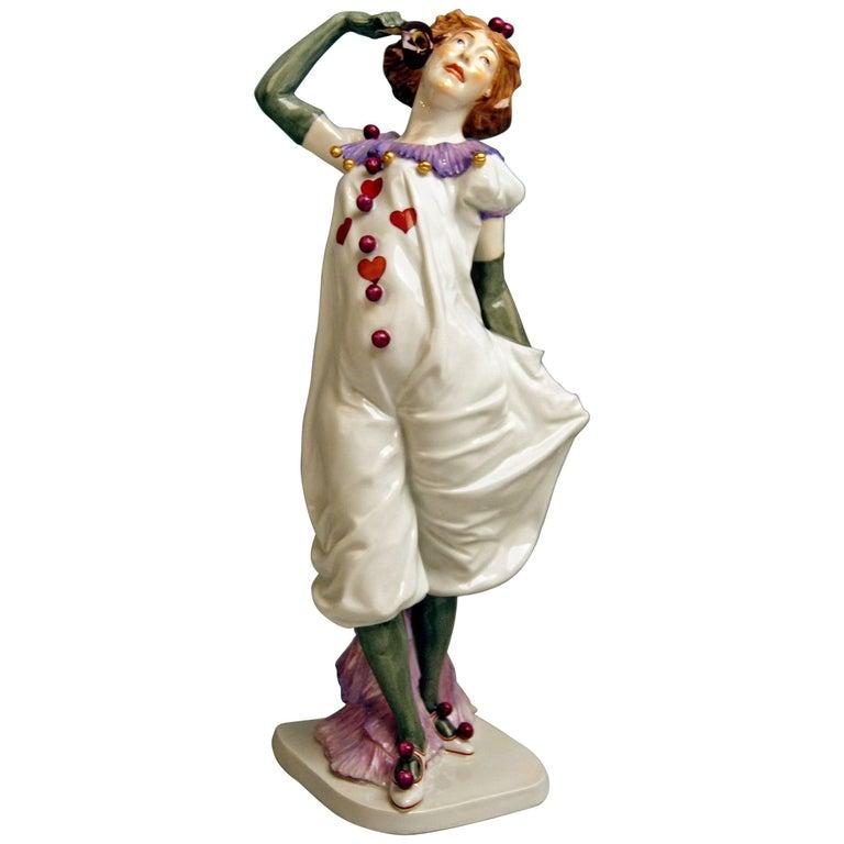 Meissen Pierrette Model Y 165 Wiegand Martin Tall Figurine Made, 1909-1915 For Sale