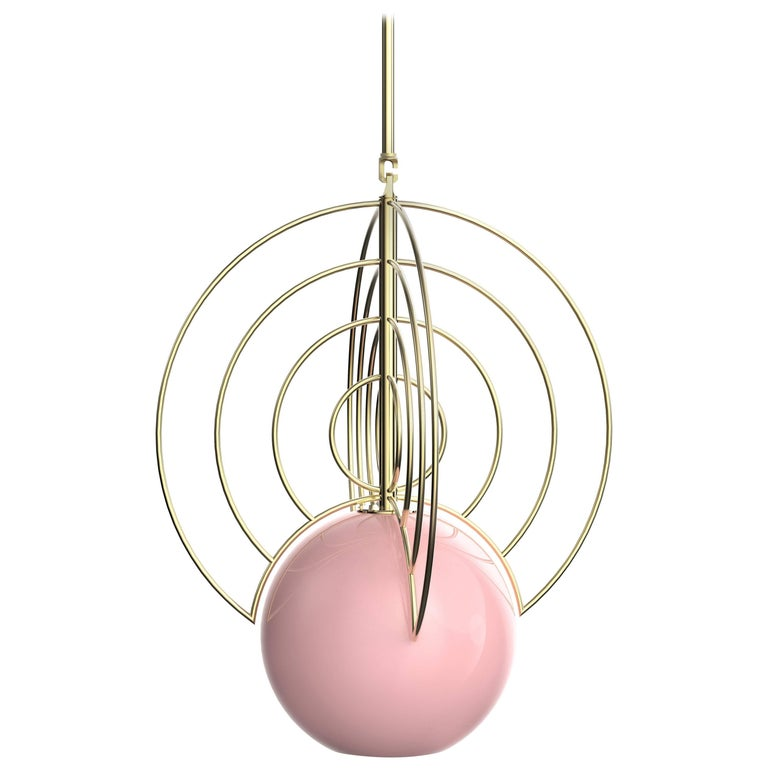 Aeneas Pink Brass Light by Iacoli & McAllister, Handmade in USA