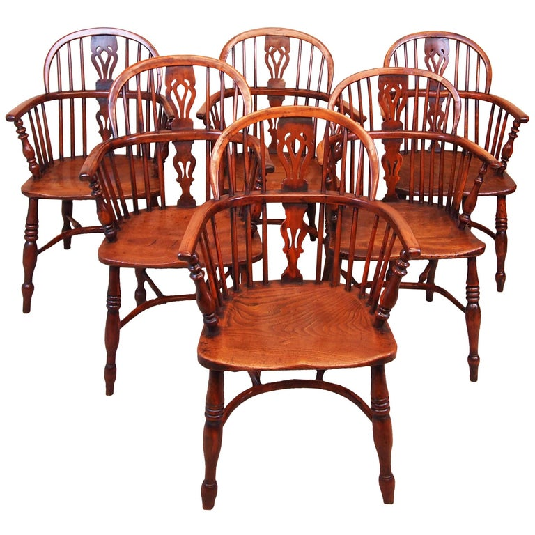 Antique 19th Century Matched Set Of Six Yew Wood Windsor Chairs For