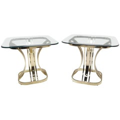Pair of Sculptural Brass and Glass Side Tables