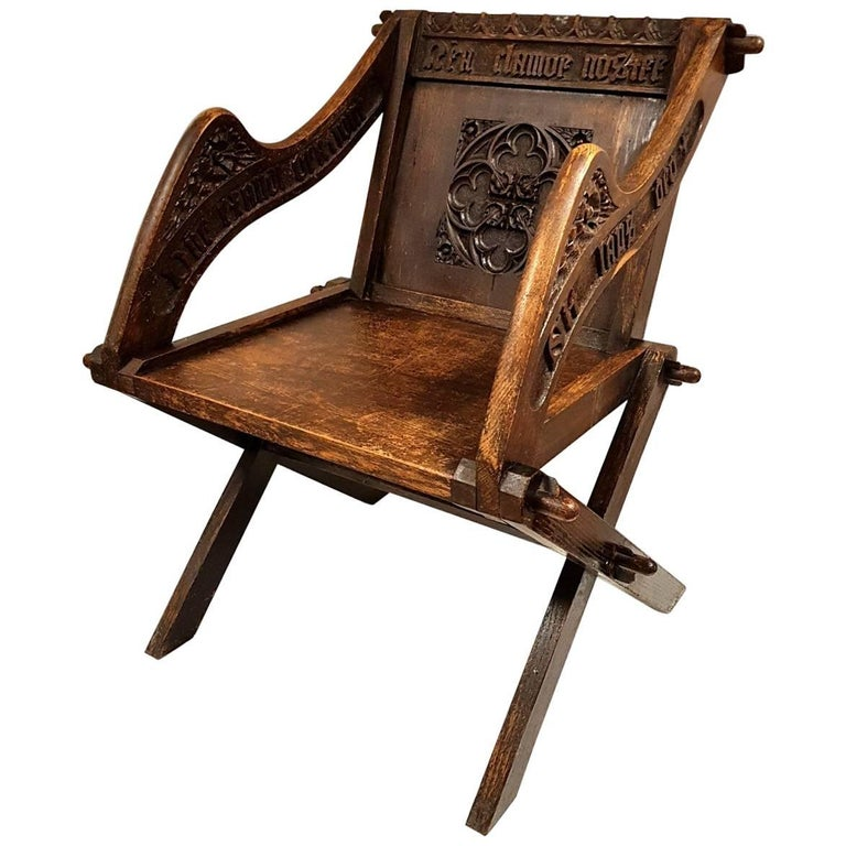 18th Century Oak Glastonbury Chair With Latin Inscriptions