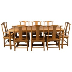 Mid-Century Chinese Table and Eight Chairs in Traditional Taste