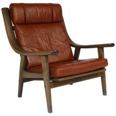 Hans Jørgensen Wegner Leather Armchairs, 1970s, Mid-Century, Design Vintage