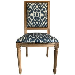 Louis XVI Style Dining Chair with Madeline Weinrib Silk Ikat Upholstery