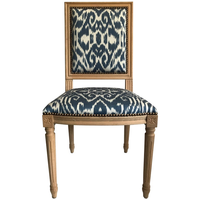 Louis XVI Style Dining Chair with Madeline Weinrib Silk Ikat Upholstery 1
