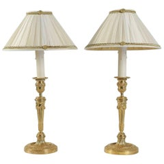 Pair of French Louis XVI Style Mercure Gilt-Bronze Candlestick Lamps, circa 1820
